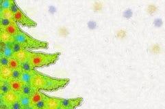 Рождественская елка иллюстрации с красочными игрушками Стоковое Изображение