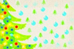 Рождественская елка иллюстрации с красочными игрушками Стоковые Изображения
