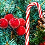 Рождественская елка и орнаменты праздников Винтажная рождественская елка Pi Стоковые Изображения