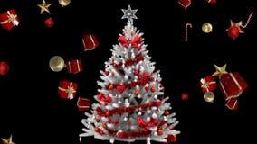 Рождественская елка и падая подарки и украшения видеоматериал