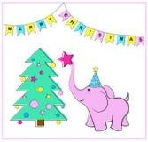 Рождественская елка и слон вектор наличных дег e eps8 наслоенный иллюстрацией Стоковая Фотография