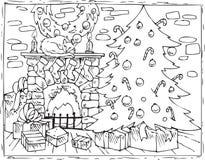 Рождественская елка, камин и подарки книжка-раскраски иллюстрация вектора