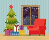 Рождественская елка, куча красочных в оболочке подарочных коробок и украшать около окна Интерьер рождества бесплатная иллюстрация