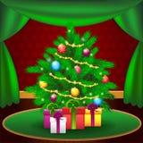 Рождественская елка на дому Стоковая Фотография