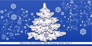 Рождественская елка на картине зимы бесплатная иллюстрация