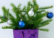 Рождественская елка подарка рождества при игрушки peeking из подарка на белой предпосылке Стоковое фото RF