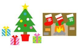 Рождественская елка, подарочные коробки, чулки рождества бесплатная иллюстрация