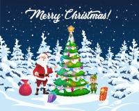 Рождественская елка, Санта и эльф с подарками иллюстрация штока