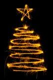Рождественская елка сделанная бенгальским огнем Стоковое Изображение RF