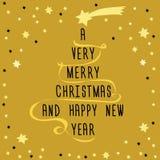 Рождественская елка сделанная от текста с золотой лентой и желтой звездой выше Иллюстрация вектора на золотой предпосылке с меньш Стоковая Фотография RF