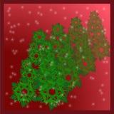 Рождественская елка снежинок на красной предпосылке Стоковая Фотография