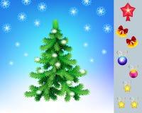 Рождественская елка с комплектом игрушек для украшения, вектора Новый Год приветствию карточки Стоковые Изображения