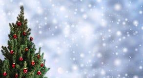 Рождественская елка с красными украшениями рождества на предпосылке праздника со снегом, запачканный, искриться, накаляя стоковая фотография rf