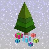 Рождественская елка с настоящими моментами в равновеликом стиле в иллюстрации вектора иллюстрация штока