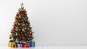 Рождественская елка с подарочными коробками в белой комнате бесплатная иллюстрация