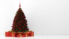 Рождественская елка с подарочными коробками в белой комнате иллюстрация вектора