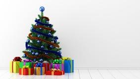 Рождественская елка с подарочными коробками в белой комнате illus 3d иллюстрация штока