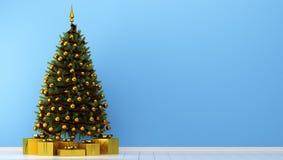Рождественская елка с подарочными коробками в голубой комнате иллюстрация вектора