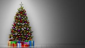 Рождественская елка с подарочными коробками в темной комнате иллюстрация вектора