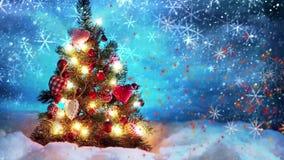 Рождественская елка с светами и снегом иллюстрация вектора