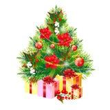 Рождественская елка с цветками, на белизне Стоковые Изображения