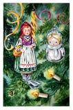Рождественская открытка акварели с игрушками рождества на ветвях рождественской елки стоковое изображение