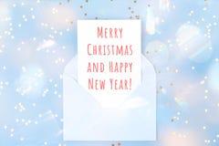 Рождественская открытка в голубом конверте Стоковая Фотография