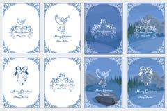 Рождественская открытка изолированная на белой предпосылке Праздник Новый Год приветствие рождества карточки Торжество зимы небо  стоковая фотография rf