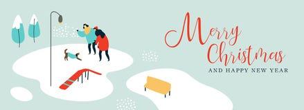 Рождественская открытка людей с собакой в зиме паркует иллюстрация вектора