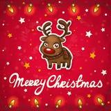 Рождественская открытка северного оленя Стоковые Изображения