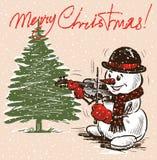 Рождественская открытка со скрипачом снеговика бесплатная иллюстрация