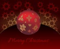 Рождественская открытка с безделушкой рождества украшенной с сердцами иллюстрация вектора
