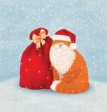 Рождественская открытка с котом Стоковое фото RF