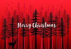 Рождественская открытка с лесом зимы, вектором стоковая фотография rf