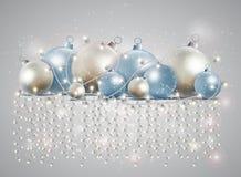 Рождественская открытка с накаляя гирляндой Яркие звезды и шарики fo иллюстрация вектора