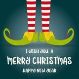 Рождественская открытка с ногами эльфа иллюстрация вектора