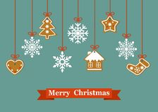 Рождественская открытка с печеньем и снежинкой пряника смертной казни через повешение бесплатная иллюстрация