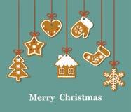 Рождественская открытка с печеньем пряника смертной казни через повешение бесплатная иллюстрация