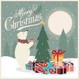 Рождественская открытка с полярным медведем который украшает рождественскую елку иллюстрация штока