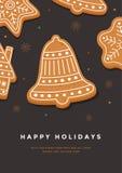 Рождественская открытка с праздниками колокола и надписи пряника счастливыми Стоковое фото RF