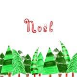 Рождественская открытка с рождественскими елками Лес покрашенных деревьев и литерности в французском ` рождества ` - Noel стоковые фото