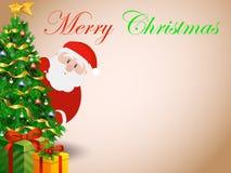 Рождественская открытка с Рождеством Христовым с santa Стоковые Изображения