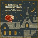 Рождественская открытка с Санта Клаусом на крыше бесплатная иллюстрация