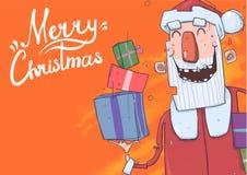Рождественская открытка с смешной усмехаться Санта Клауса Санта Клаус приносит настоящие моменты в красочных коробках Литерность  иллюстрация вектора