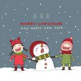 Рождественская открытка с снеговиком и детьми в сцене снега рождества иллюстрация вектора