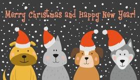 Рождественская открытка с собакой шаржа бесплатная иллюстрация