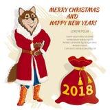 Рождественская открытка с собакой 04rr Стоковые Изображения RF