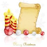 Рождественская открытка с украшением и пергаментом стоковое изображение