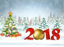 Рождественская открытка с шариком Стоковые Изображения RF