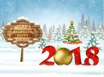 Рождественская открытка с шариком Стоковая Фотография